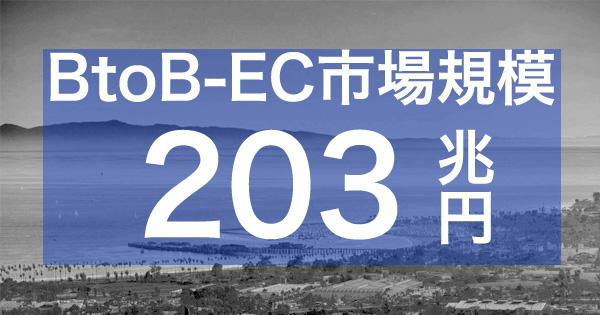 BtoB-EC市場規模|203兆円(前年比+3.5%増)、EC化率は19.2%(前年比+0.7%増)@経済産業省